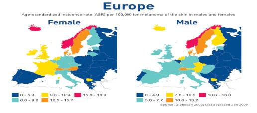 Incidenza del Melanoma in Europa